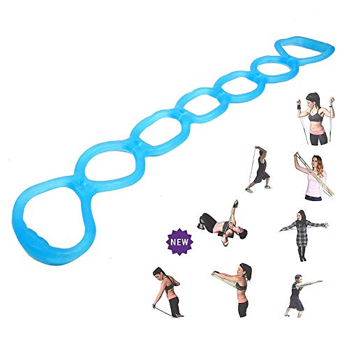 calliven Portable 7 Ring Stretch and Resistance Exercise Band | Back, Foot, Leg, Hand Stretcher, Arm Exerciser| for Home or Fitness Center Workout, Physical Therapy (Blue)