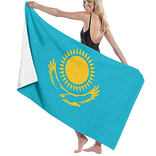 Tcerlcir Strandtuch Badetuch Saunatuch Duschtuch Ultra Leicht Handtuch Schnelltrocknend Saugfähiges Sporthandtuch Kasachstan Flagge 130X80cm