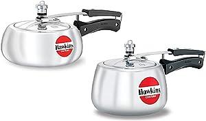 Hawkins Contura Pressure Cooker, 2 litres & 3 litres, Set of 2, Silver