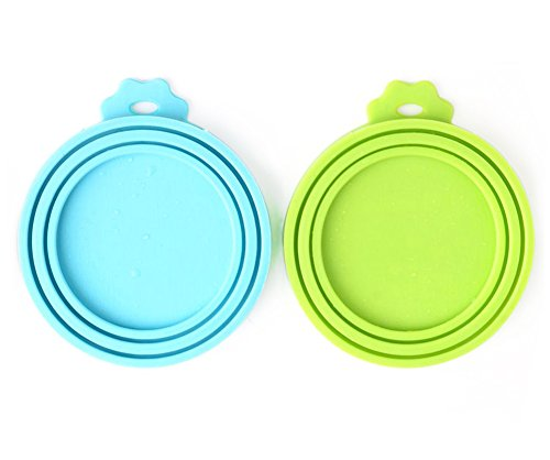 Read About Comtim Pet Food Can Cover/Silicone Can Lids for Dog and Cat Food, Blue/Green