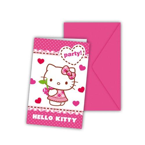 PARTY DISCOUNT NEU Einladungskarten Hello Kitty, 6 STK.