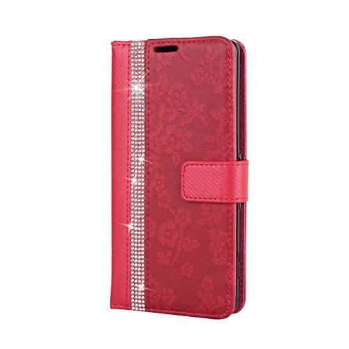 Coque Sony Xperia XA Housse, SONWO Etui en Cuir Magnetique Flip Portefeuille Housse avec Fonction Support et Fentes de la Carte pour Sony Xperia XA, Rouge
