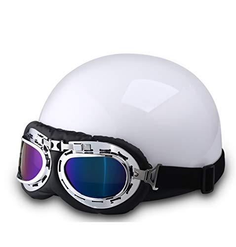 DaMuZ Casco Moto Jet Vintage Casco Moto Abierto con Gafas de Seguridad...