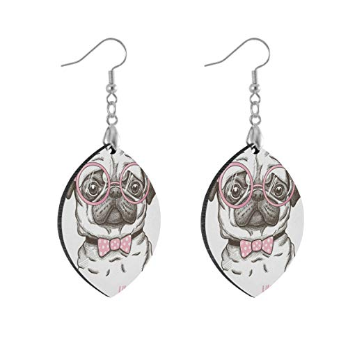 Earring for Women Leaf Pug Dog Animal Fashion Earrings Girls for Valentine's Day Double Layered Lightweight