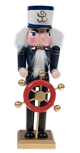 Clever Creations Ship Captain Nutcracker Captain Holding Helm | Festive Nautical Christmas Decor | 8' Tall Perfect for Shelves and Tables | Perfect for Any Collection | 100% Wood…