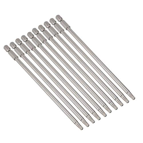 10 puntas de destornillador magnéticas T20, vástago hexagonal de 1/4 pulgadas, longitud de 5,9 pulgadas, seguridad S2, kit de destornillador inviolable