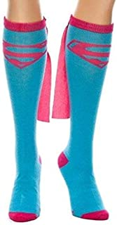 Dc Comics Supergirl Blue Knee High Sock with Pink Cape, Blue, 9-11 (Shoe Size 5-10)