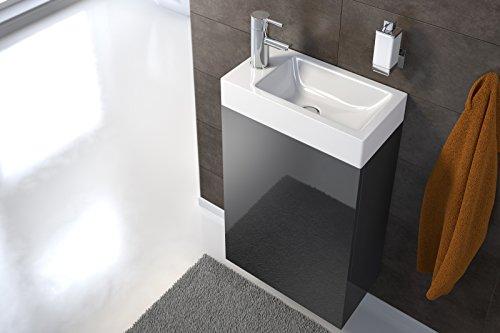 SAM Waschplatz Vega, 40 x 22 cm, Badezimmer, schmaler Waschtisch in Schwarz Hochglanz, Waschbecken aus Kunststoff