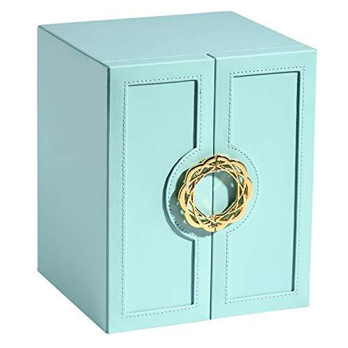 Jewelry Box 5 Layer PU Organizador Organizador Caja de joyería para collar Pendientes Anillos Pulseras Regalo Para Mujeres Chicas-Blue