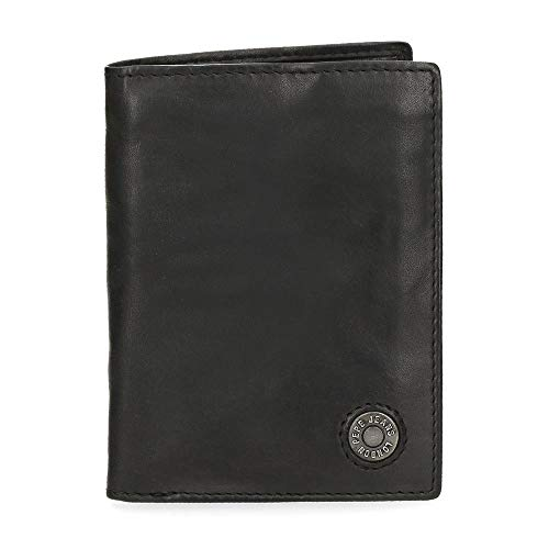 Pepe Jeans Button Cartera Vertical con Monedero Negro 8,5x11,5x1 cms Piel