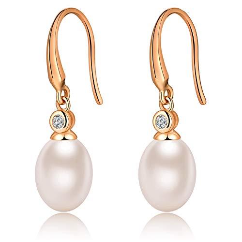 ohrringe silber perlen ohrringe-perlenohrringe silber 925 ohrringe perlen haengend mit 10MM creolen mit perlen silber (A-Rose Gold)