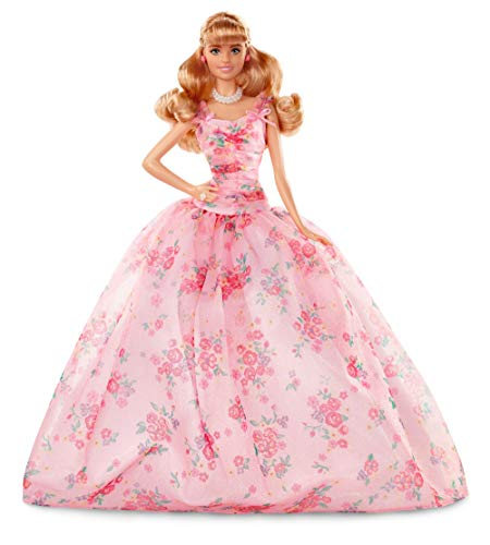 Barbie Collector: Birthday Wishes Doll with Blonde Hair, 11.5-Inch, Wearing Floral Gown, with Doll Stand and Certificate of Authenticity, Makes A Great Gift for 6 Year Olds and Up​​