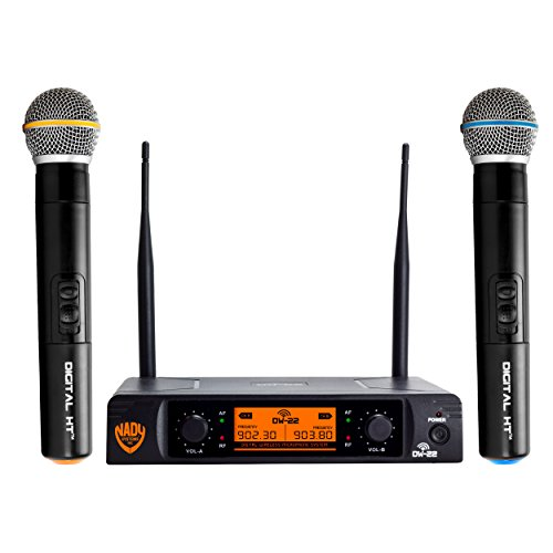 """Nady DW-22 Dual Digital Wireless Handheld Microphone System – Dual fixed UHF frequency – Ultra-low latency with QPSK modulation - Dual XLR and mixed ¼"""" outputs"""