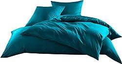 Mako-Satin Baumwollsatin Bettwäsche Uni einfarbig zum Kombinieren (Bettbezug 135 cm x 200 cm, Petrol Blau)