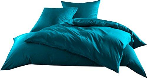 Mako-Satin Baumwollsatin Bettwäsche Uni einfarbig zum Kombinieren (Bettbezug 155 cm x 220 cm, Petrol Blau)