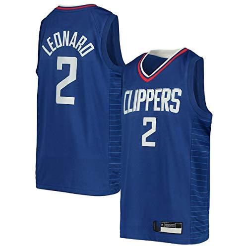 EUEU Chalecos de baloncesto personalizados Kawhi LA NO.2 Azul, Clippers Leonard Youth Swingman Jersey de secado rápido Deportes de manga corta para Kids-Icon Edition