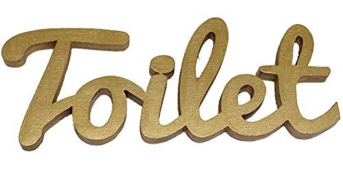 Mia Studio PA200 - Scritta in legno per indicare la porta del bagno, per casa, bar, ristorante, cinema, caffetteria, Legno, Royal Old Gold, L17/H7