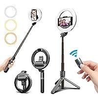 Dieses Selfie Ringleuchte unterstützt zwei Platzierungsmethoden: Handheld und Stativ. Sie können je nach Bedarf verschiedene Verwendungsmöglichkeiten auswählen. Das Gewicht beträgt nur 269 g, es ist leicht und kompakt und leicht zu tragen. Sie können...