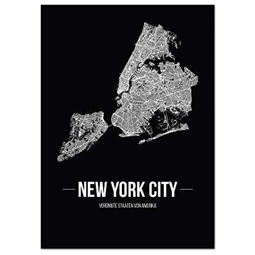 JUNIWORDS Stadtposter, New York City, Wähle eine Größe, 30 x 40 cm, Poster, Schrift B, Schwarz