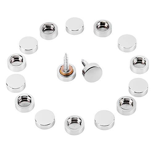 Micgeek 16 Stück Chrom Schraubkappen, Spiegelschrauben, Schöne und praktische Chromschrauben, für Spiegel, Couchtische, Badezimmerpaneele, Siver