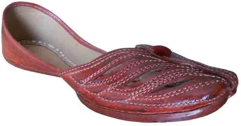 Mojari Casual Leather Women shoes Indian Handmade Flip-Flops Flat Brown