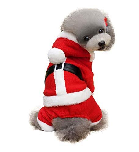 Iris Sprite Hond Leash Puppy Kostuum Hoodie Fluwelen Jumpsuit Kleine Hond Kleding, S(Back length 11.8'',Weight 6.6-8.8lb), Santa Claus Costume