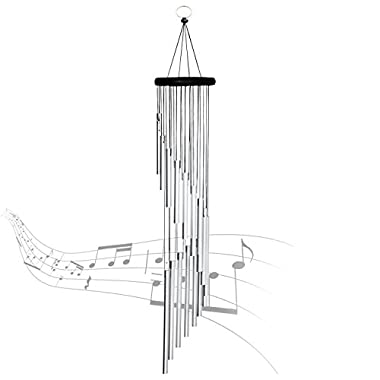 """AUCHEN Amazing Grace Wind Chimes - 35.4"""" Premium Large Wind Chimes Outdoor for Patio Garden Balcony and Home Decor (Silver)"""