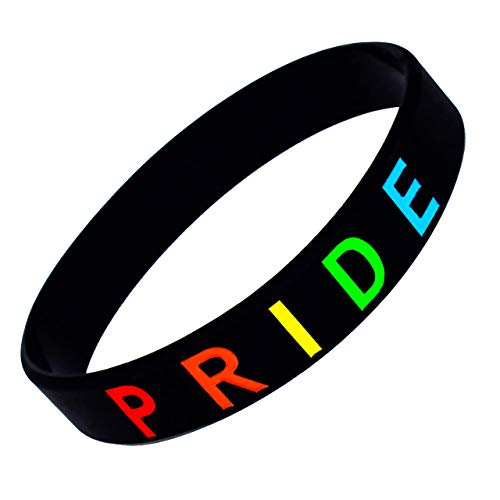 Pride Bracelet, Support LGBTQ Silicone Wristband, Rainbow Color (1 pack) Also Available in 2, 5 and 10 Packs