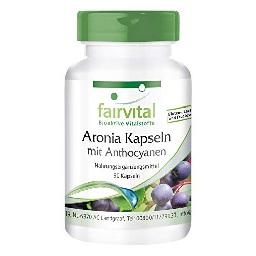 Aronia Kapseln - HOCHDOSIERT - mit 20% Anthocyanen & 45% Polyphenolen - VEGAN - 90 Kapseln