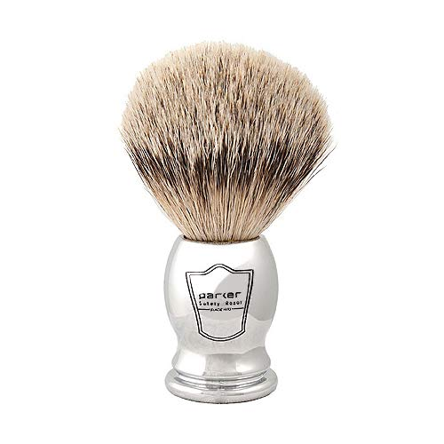 Parker Safety Razor Pure Badger Silvertip Shaving Brush–Chrome Handle with 3- Band-Silvertip Badger Hair Bristles – Extra Dense and Soft Bristles –Parker Shaving Brush Stand Included