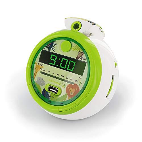 Metronic 477030 - Radio Reloj Despertador Digital para niños, con Reloj proyector Techo para Leer la Hora, diseño Infantil Verde Jungla con Animales de la Selva, Doble Alarma Radio FM, Toma USB