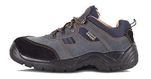 Work Team Zapato de Serraje con Cordones. Tipo treking. Suela PU bidensidad. Puntera y Plantilla de Acero. Hombre Gris 40