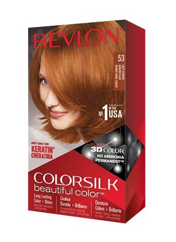 Revlon Colorsilk Beautiful Color, Permanent Hair Dye with Keratin, 100% Gray Coverage, Ammonia Free, 53 Light Auburn