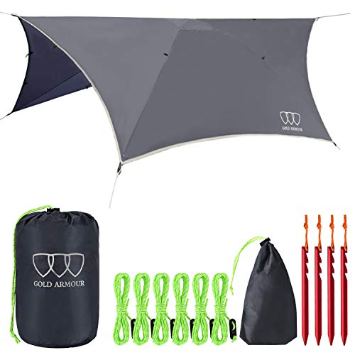 Gold Armour Rainfly Tarp Hammock, Premium 14.7ft/12ft/10ft/8ft Rain Fly Cover, Waterproof Ultralight Camping Shelter Canopy, Survival Equipment Gear Camping Tent Accessories (Gray 12ft x 10ft HEX)
