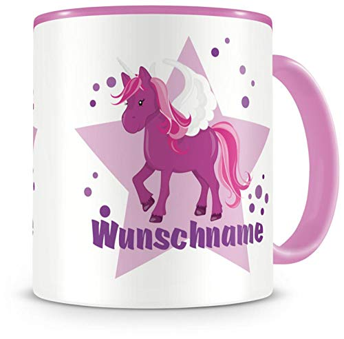 Samunshi® Kinder-Tasse mit Namen und einem lila Einhorn als Motiv Bild Kaffeetasse Teetasse Becher Kakaotasse Nr.7: rosa H:95mm / D:82mm