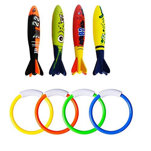 TopwaysUnderwater Pool Diving Rings Sticks Diving Torpedo, Anelli per Immersione Subacquea per Piscina Anelli per Immersione Torpedo Set per Giochi di Nuoto in Piscina per Bambini
