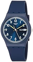 Casual navy blue watch featuring easy-to-read dial with day/date window and bright green accents 34-mm plastic case with mineral dial window Swiss quartz movement with analog display Textured silicone band with buckle closure Water resistant to 30 m ...