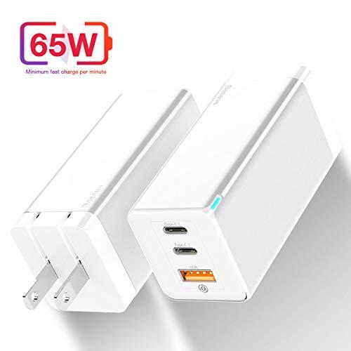 65W急速充電器 USB-C 急速充電器 USB充電器 GaN 窒化ガリウ 3ポート 折畳式 PD急速充電 超小型体積 BPS知能的に電流を分ける Huawei P40/P30 Pro/Mate 20/Mate RS/Huawei Honor 20, Samsung S10/S10+/S10e/Note10/Note10+,iP11/iP11Pro/iP 11Pro Max/iPXs Max/iPXs/iPXR/iPX/iP8, Xiaomi 9/Xiaomi 8/ Mix 3/ Mix 2S向け(白)