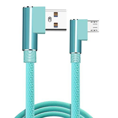 Cavo micro USB ad angolo retto Cavo di ricarica USB a 90 gradi 1M/2M/3M Cavo di ricarica rapido intrecciato in nylon 2.4A Compatibile con Samsung Galaxy S5/S6/S6 Edg /S7/S7 Edge,HTC,Moto,Nexus,Nokia