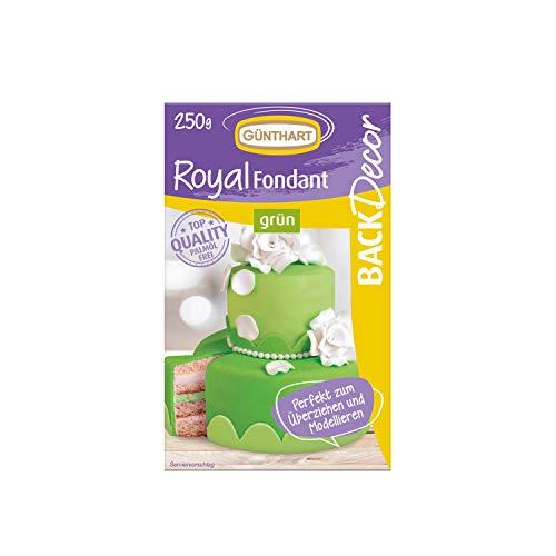 Günthart BackDecor Royal Fondant | Fondant grün | 250 gr | Palmöl frei | Modelliermasse | Frosch | Froschkönig | Wiese |