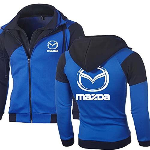 Sudaderas con Capucha con Capucha de Doble Cremallera para Hombre Chaquetas para Mazda Impreso Fleece Sudadera Sudadera de Manga Larga Suéter Outerwear Casual Cardigan (Color : B, Tamaño : 3XL)