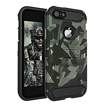 HUATRK iPhone 5 Case iPhone 5S Case iPhone SE 2016 Case Man Boys Military Kickstand Three Layer Heavy Duty Shockproof Protective Camo Cover,Camouflage Green