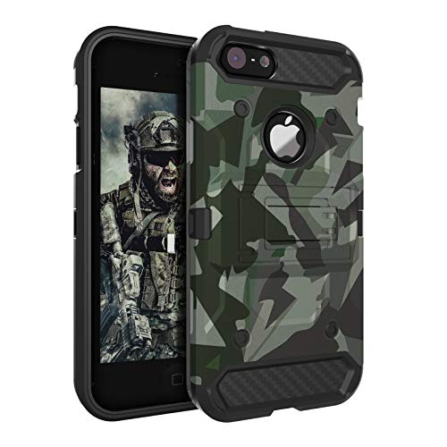 iPhone 5S Case,iPhone 5 Case,iPhone SE Case Huatrk Kickstand Heavy Duty Shockproof Protective Camo Cover for Man/Boys/Women/Girls - Camouflage green