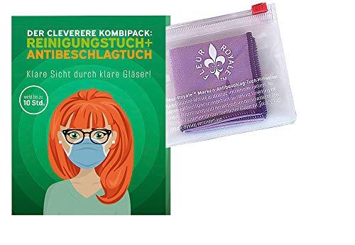 Antibeschlagtuch Brille, 2er-Set, 1 Antifog Tuch, 1 Brillenputztuch, PFAS-frei