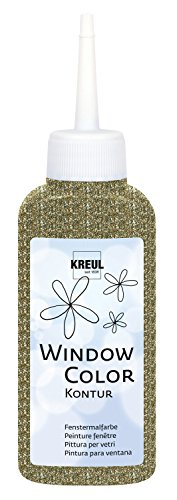 Kreul 42786 - Window Color Konturenfarbe, zur besseren Abgrenzung von Motiven, für glatte Oberflächen wie Glas, Spiegel und Fliesen, 80 ml Malflasche, glitzer gold