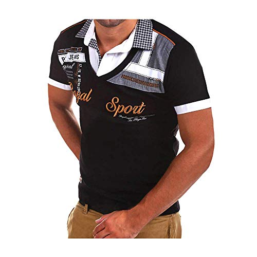 Pingrog Herren Poloshirt Polo Polohemd Kurzarmshirt Besticken Basic Shirt T Shirts Männer Coole Print Sweatshirt Slim Fit (Color : Colour, Einheitsgröße : Einheitsgröße)