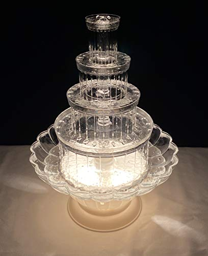 Crafts Central 18 Inch Lighted Clear Plastic Water Fountain for Weddings or Cake Centerpiece