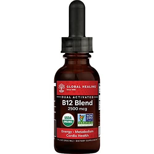 Global Healing Center Vegansafe B12, 2500 mcg Organic Sublingual Liquid Vitamin B12 Drops | 2-in-1 Methylcobalamin & Adenosylcobalamin Blend for Energy, Mood, and Heart Health, 30-Day Supply (1 Fl Oz)