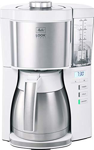 Melitta 1025-17 Filter-Kaffeemaschine mit Thermo-Kanne und Timerfunktion, 1080, abnehmbaren Wassertank und Entkalkungsprogramm, 1.25 liters, weiß Look V Timer