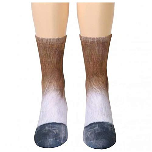 Amayay 3D Print Tier Socken Huf Erwachsene Digital Klaue Simulation Socken Einfacher Stil Unisex Erwachsene Mittlere Tube Socken Tier Bequeme Lässige (Color : Pferd, Size : Erwachsene)